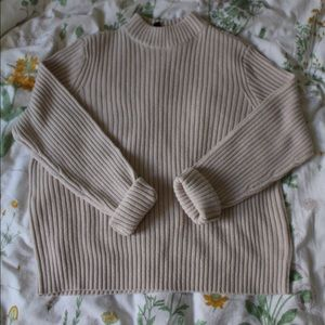 Divided mock neck sweater